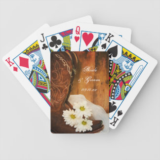 White Daisies and Cowboy Boots Country Wedding Poker Deck