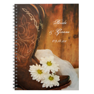 White Daisies and Cowboy Boots Western Wedding Spiral Notebook