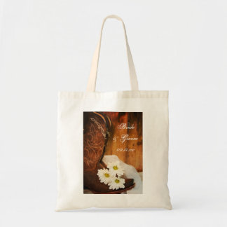 White Daisies Cowboy Boots Country Western Wedding Tote Bag