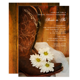 White Daisies Cowboy Boots Western Bridal Shower Card