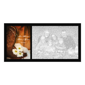 White Daisies Cowboy Boots Western Just Married Card