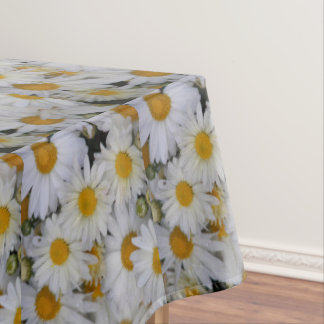 White Daisies Floral Tablecloth
