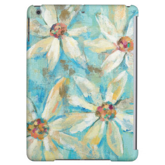 White Daisies on Blue iPad Air Cases