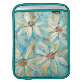 White Daisies on Blue iPad Sleeve