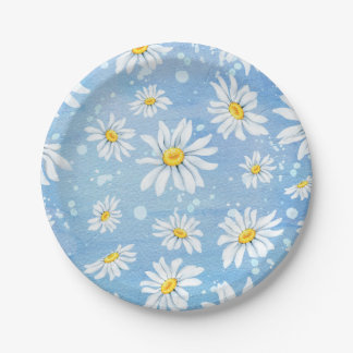White Daisies on Blue Paper Plate
