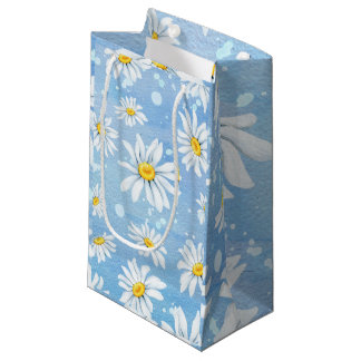 White Daisies on Blue Small Gift Bag