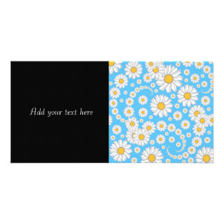 White Daisies on Bright Blue Background Photo Greeting Card