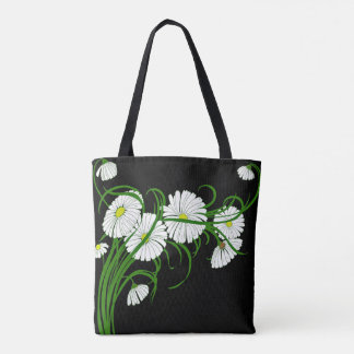 White Daisies on Contrasting Black Background Tote Bag