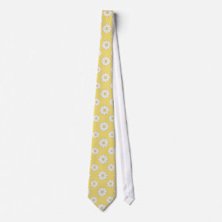 White Daisies on Golden Yellow Tie
