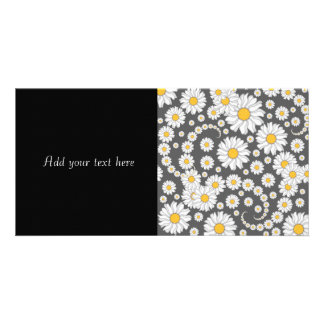 White Daisies on Grey Background Personalized Photo Card