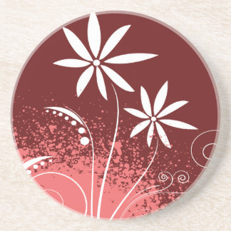 White Daisies on Pink and Red Coaster