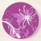White Daisies on Purple Coaster