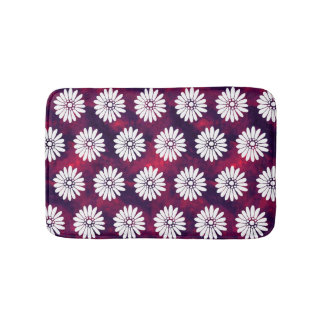 White Daisies on Smoky Burgundy & Purple Bath Mat