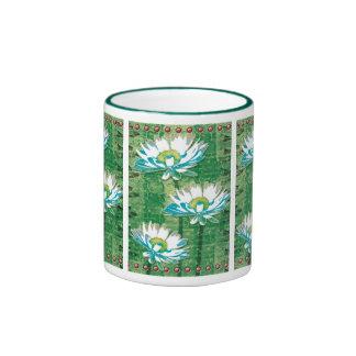 white Daisies Panel design Ringer Coffee Mug