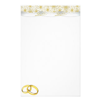 White Daisies Satin Ribbon and Wedding Rings Stationery