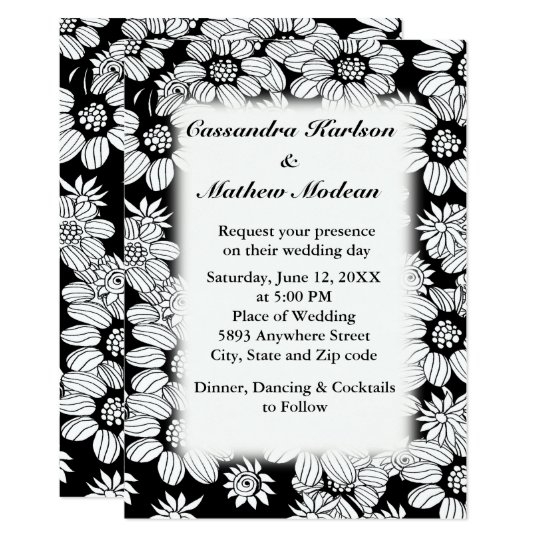 White Daisies with Black Background Wedding Invite
