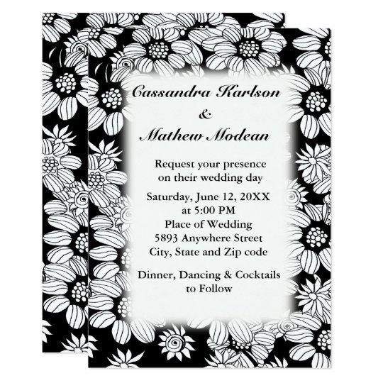 White Daisies with Black Background Wedding Invite