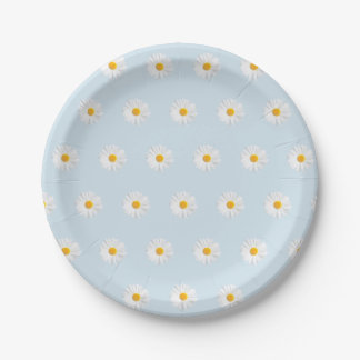 white daisy 7 inch paper plate