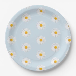 white daisy 9 inch paper plate