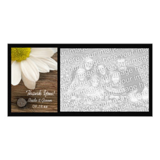 White Daisy and Barn Wood Country Thank You Personalized Photo Card