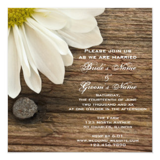 "White Daisy and Barn Wood Country Wedding 5.25"" Square Invitation Card"