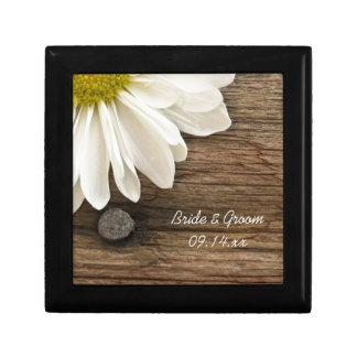 White Daisy and Barn Wood Country Wedding Keepsake Box