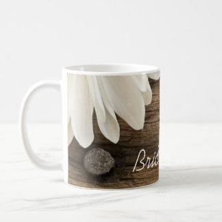 White Daisy and Barn Wood Country Wedding Basic White Mug