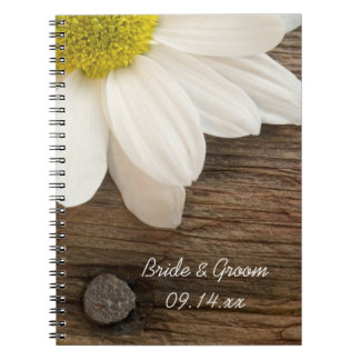 White Daisy and Barn Wood Country Wedding Notebook