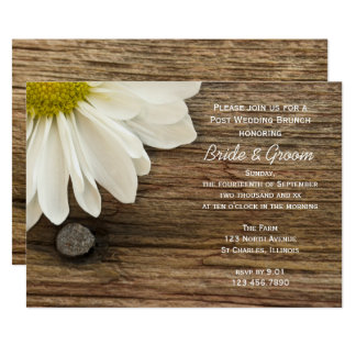 "White Daisy and Barn Wood Post Wedding Brunch 5"" X 7"" Invitation Card"