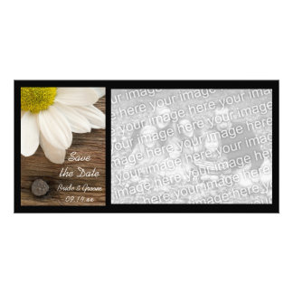 White Daisy and Barn Wood Wedding Save the Date Card