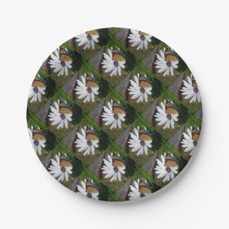 White Daisy and Butterfly 7 Inch Paper Plate