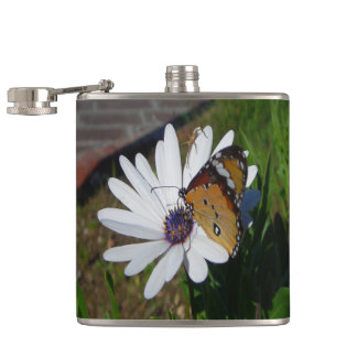 White Daisy and Butterfly Hip Flask