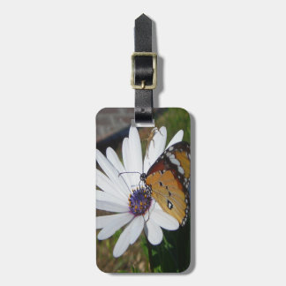 White Daisy and Butterfly Luggage Tag