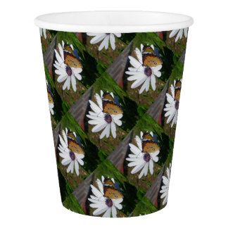 White Daisy and Butterfly Paper Cup