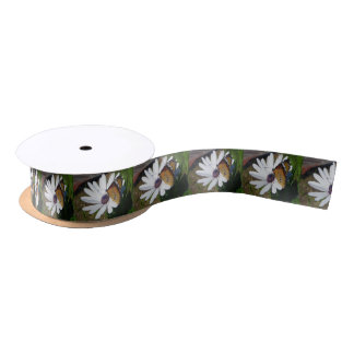 White Daisy and Butterfly Satin Ribbon