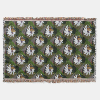 White Daisy and Butterfly Throw Blanket