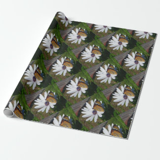 White Daisy and Butterfly Wrapping Paper