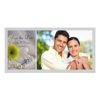 White Daisy and Diamond Ring Wedding Save the Date Picture Card