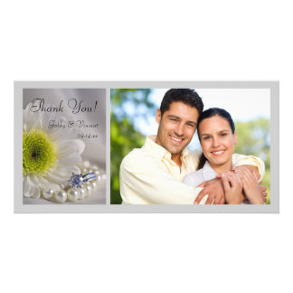 White Daisy and Diamond Ring Wedding Thank You Picture Card