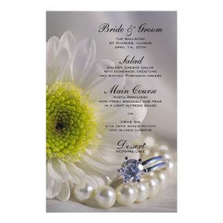 White Daisy and Diamond Wedding Menu Personalized Stationery
