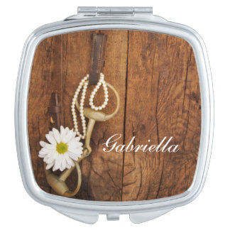 White Daisy and Horse Bit Country Wedding Makeup Mirrors
