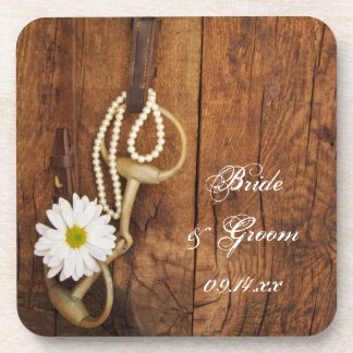 White Daisy and Horse Bit Country Western Wedding Coaster