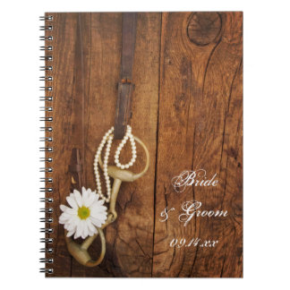 White Daisy and Horse Bit Country Western Wedding Spiral Note Book