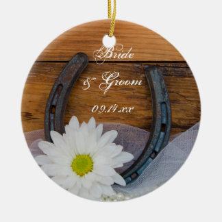 White Daisy and Horseshoe Country Wedding Round Ceramic Ornament