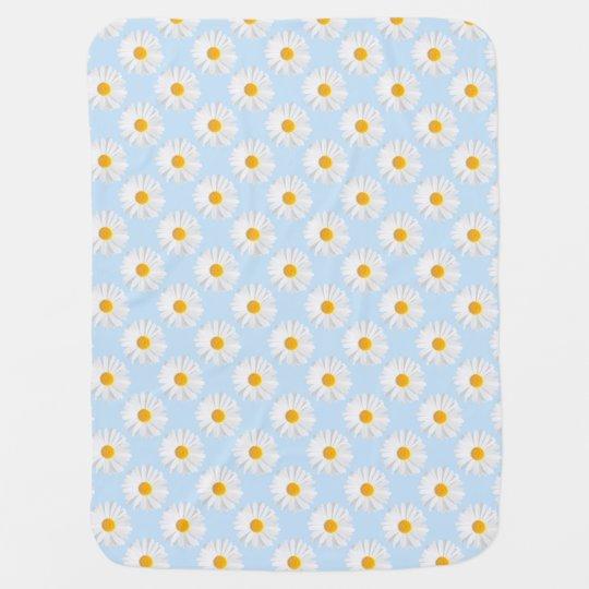 white daisy baby blanket