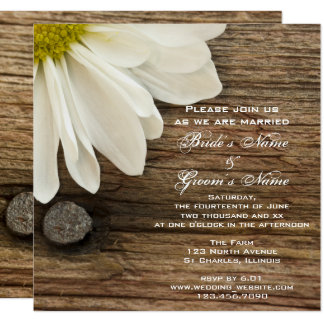 White Daisy Barn Wood Country Wedding Invitation