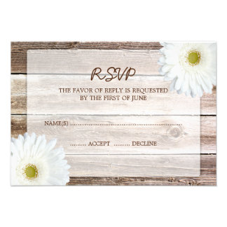 White Daisy Barn Wood Wedding RSVP Response Card Personalized Invitation