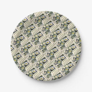 White Daisy Birthday Collage 7 Inch Paper Plate
