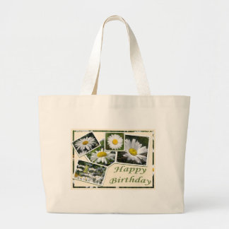 White Daisy Birthday Collage Large Tote Bag