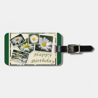 White Daisy Birthday Collage Luggage Tag